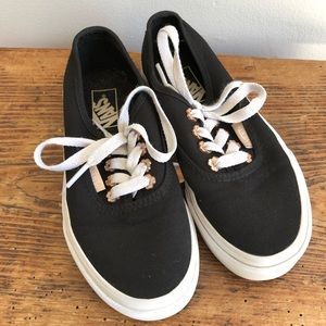 VANS lace Up sneakers black gold floral youth 12.5